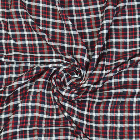 Black-Red and White Checks Cotton Handloom Khadi Fabric-40275