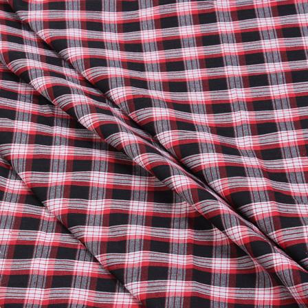 Black-Red and White Checks Handloom Cotton Khadi Fabric-40050