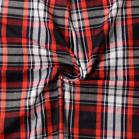 Black-Red and White Checks Pattern Cotton Handloom Khadi Fabric-40186