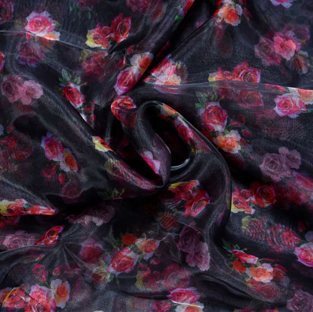Black Red and White Floral Organza Digital Silk Fabric-22421