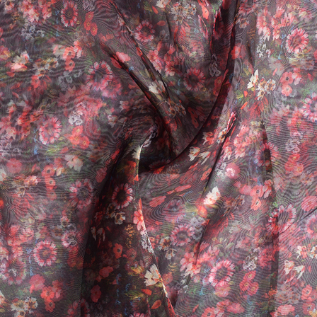Black-Red and White Flower Digital Organza Fabric-51128