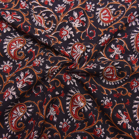 Black-Red and White Paisley Design Block Print Cotton Fabric-14169