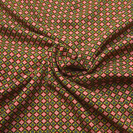 Black-Red and White Unique Pattern Crepe Fabric-18088