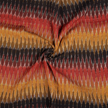 Black-Red and Yellow 3D Cotton Ikat Fabric-12110