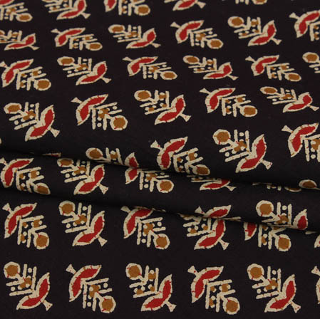 Black Red and Yellow Block Print Cotton Fabric-14936