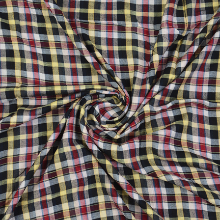 Black-Red and Yellow Checks Cotton Handloom Fabric-40281