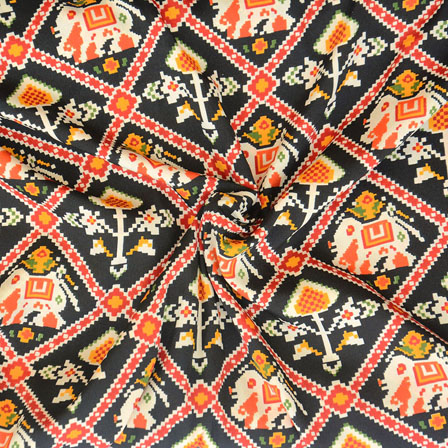 Black Red and Yellow Elephant Crepe Silk Fabric-18221