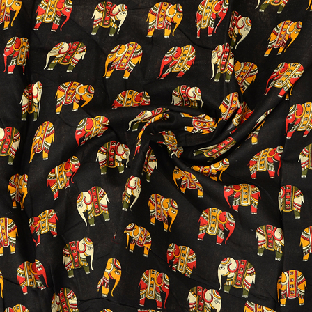 Black-Red and Yellow Elephant Kalamkari Cotton Fabric-10098