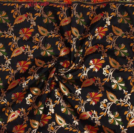 Black Red and Yellow Floral Banarasi Silk Fabric-9380