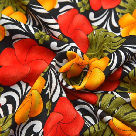Black-Red and Yellow Floral Design Crepe Fabric-18027