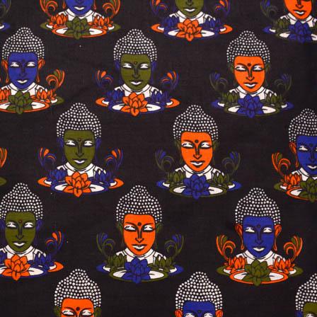 Black-Royal Blue and Orange Buddha Kalamkari Cotton Fabric-5567