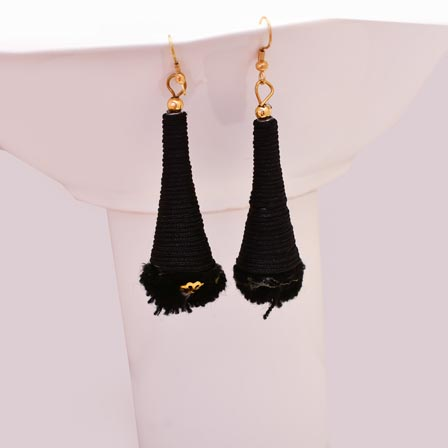 Black Silk Handcrafted with Black Tassel Drop Earring for Women