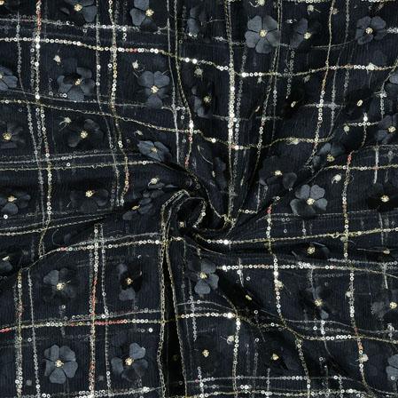 Black Silver Floral Net Applique Fabric-19241