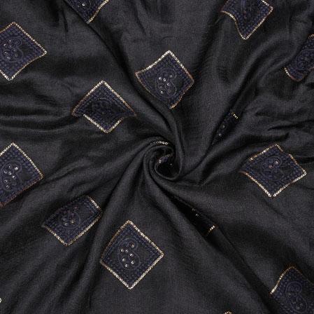 Black Silver Square Georgette Embroidery Fabric-19119