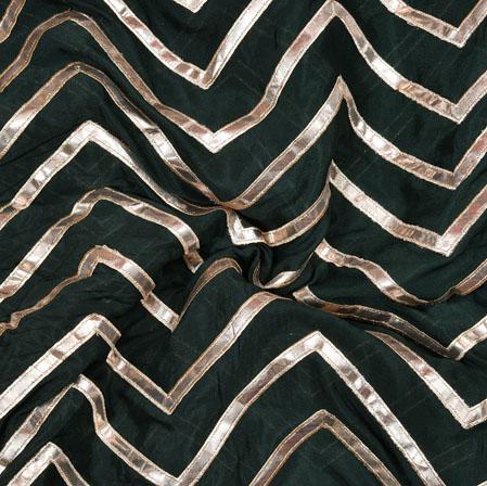 Black Silver Zigzag Gota Work Chinnon Silk Fabric-19181