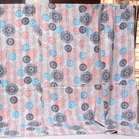 Black-Sky Blue and Cream Handmade Circular Pattern Kantha Quilt-4379