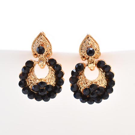 Black Stone Circular Design with Golden Polish Earring for Women