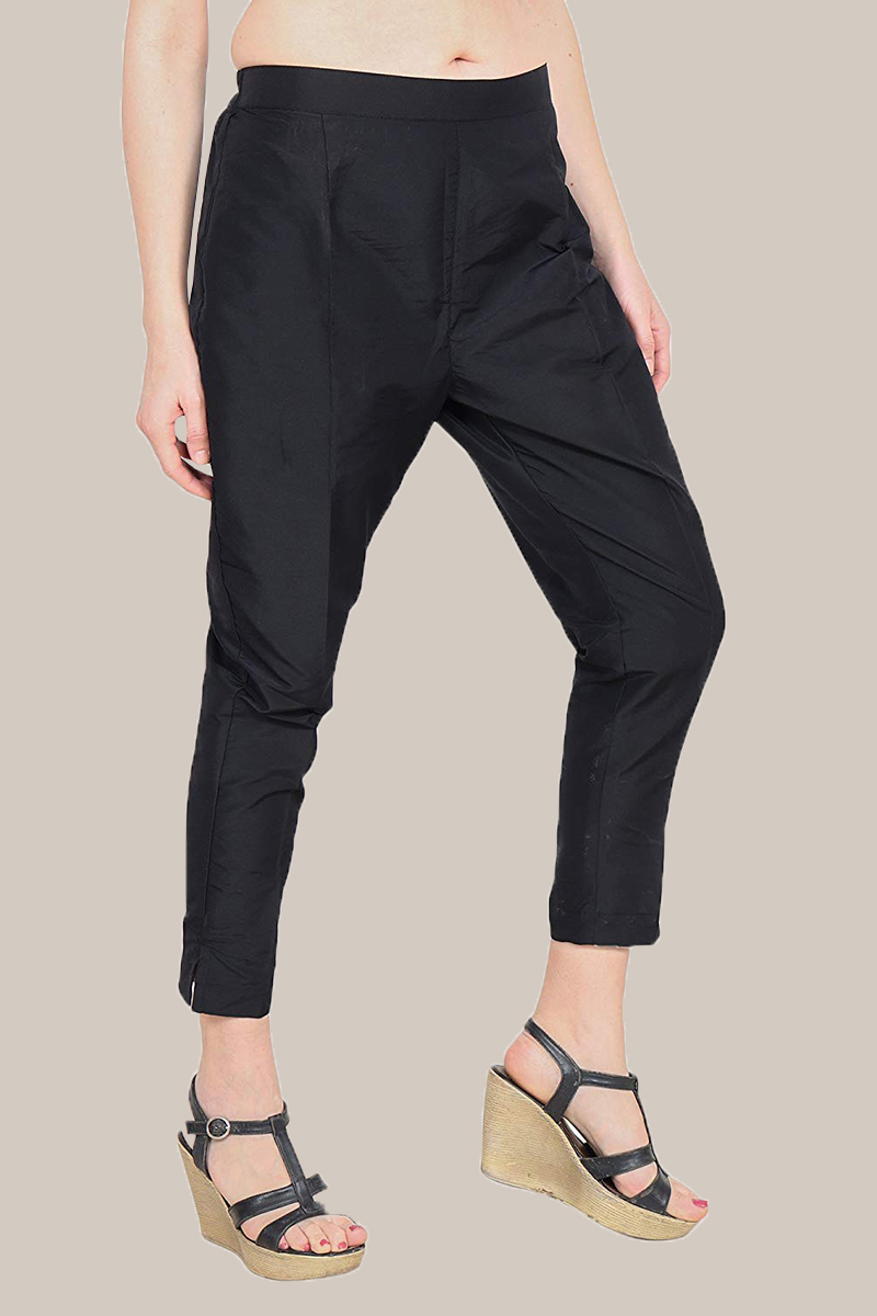 Black Taffeta Silk Ankle Length Pant-33960