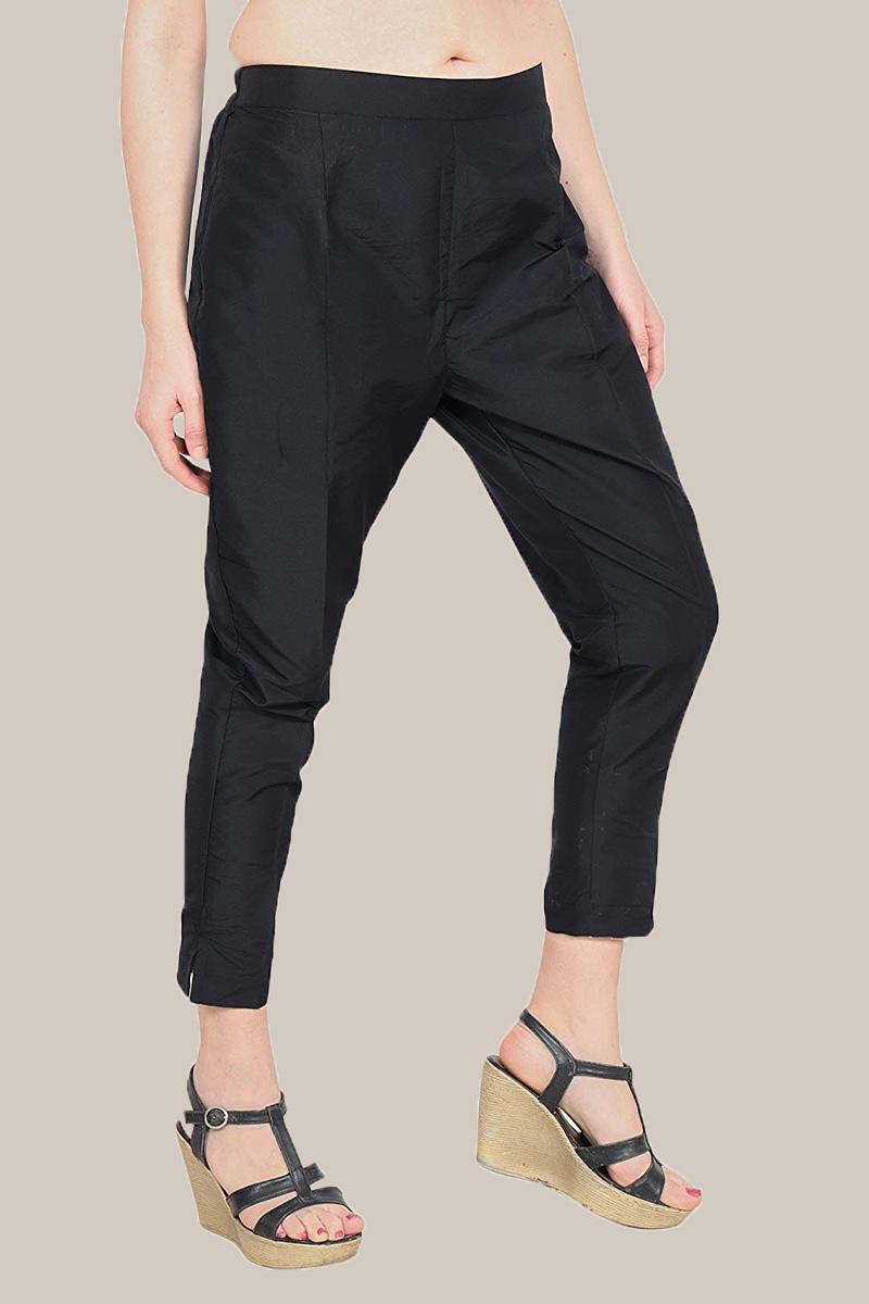 Black Taffeta Silk Ankle Length Pant-33973