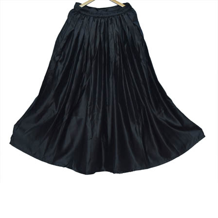 Black Umbrella Satin Skirt-23031