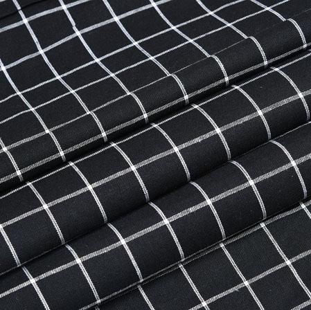 Black White Check Handloom Cotton Fabric-40869