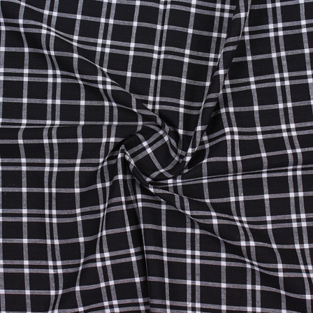 Black White Check Handloom Khadi Cotton Fabric-40610