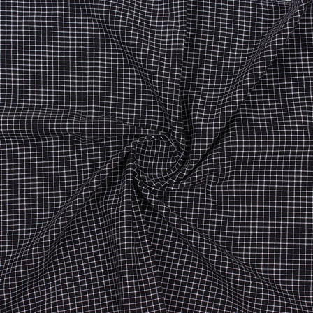 Black White Check Handloom Cotton Fabric-40759