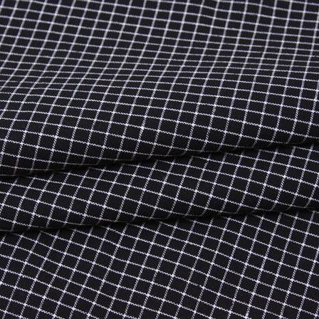 Black White Check Handloom Cotton Fabric-40759