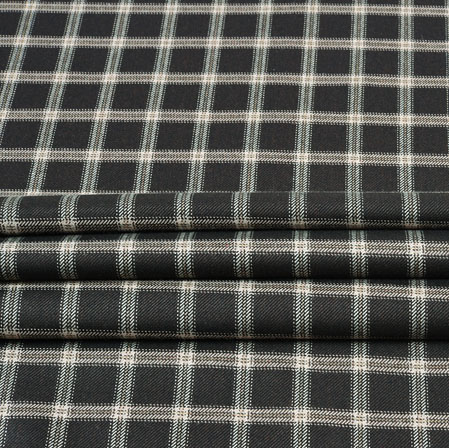 Black White Check Wool Fabric-90114