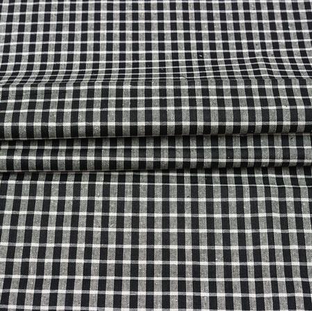 Black White Checks Cotton Handloom Fabric-42208