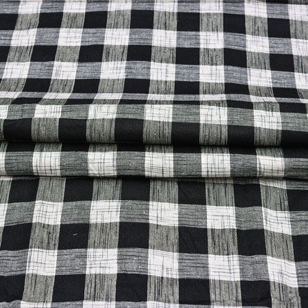 Black White Checks Cotton Handloom Fabric-42219