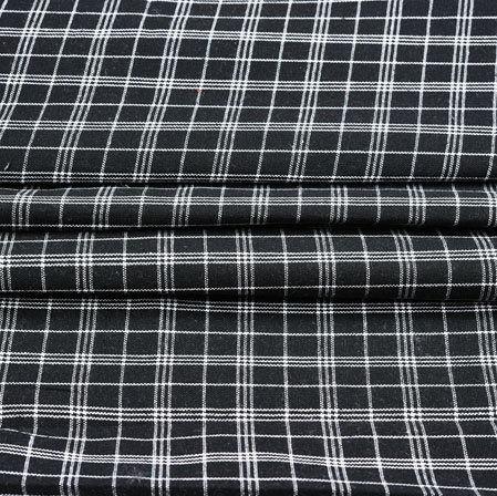 Black White Checks Cotton Fabric-42394