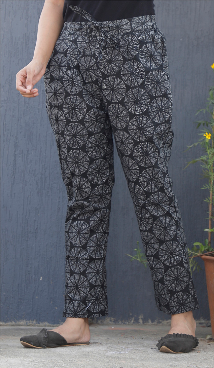 Black White Circular Block Print Cotton Pant-34106