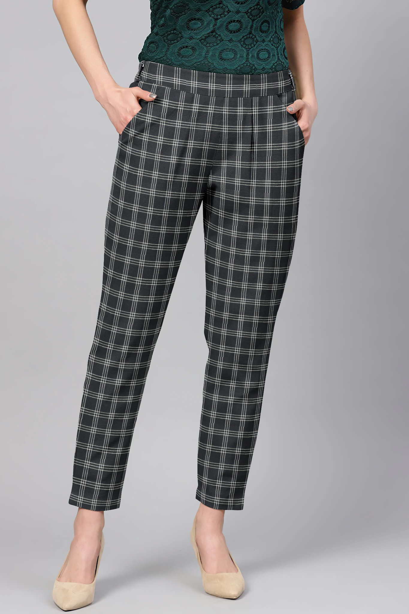 Black White Cotton Check Regular Fit Solid Trouser-36084