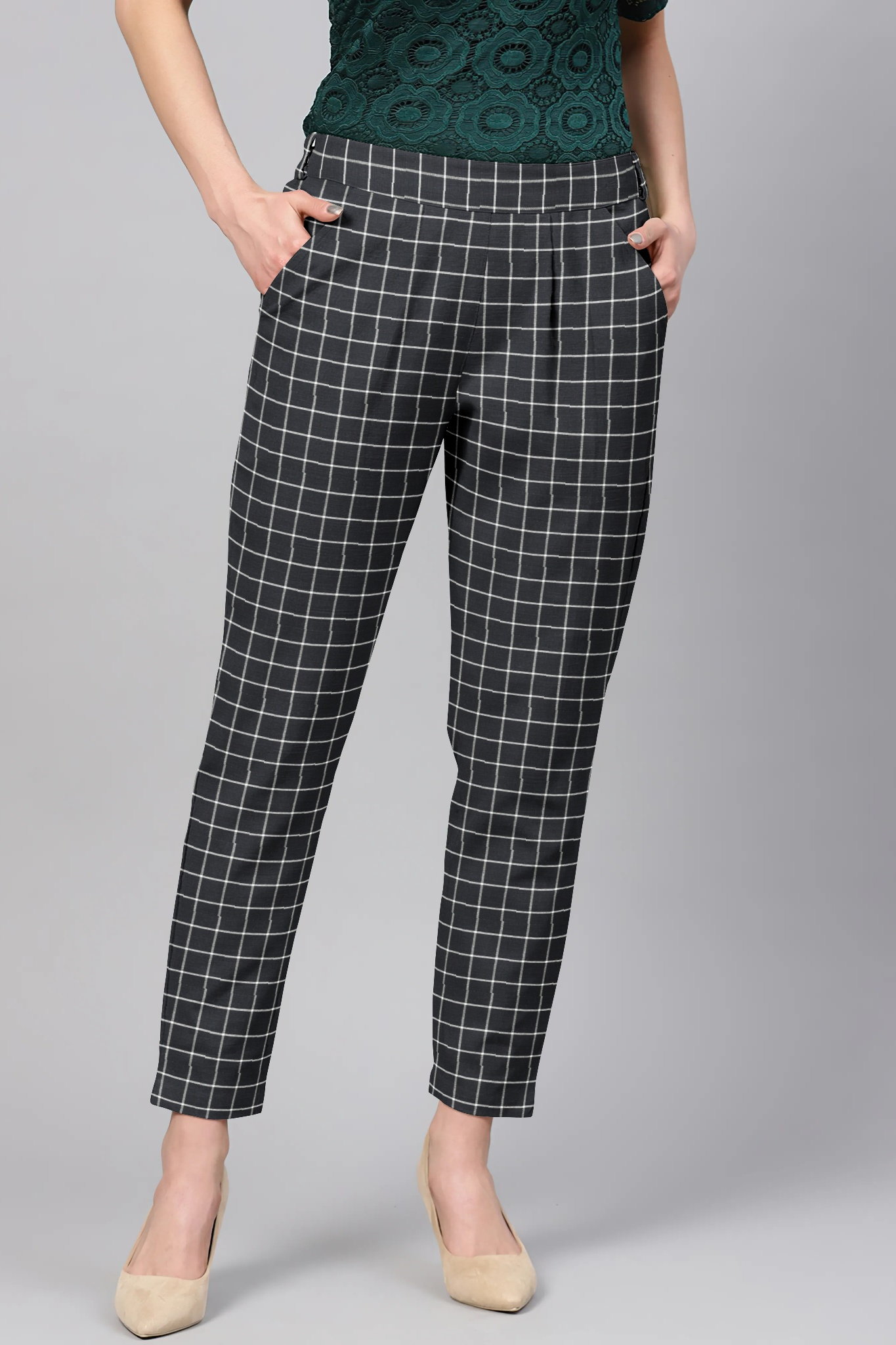 Black White Cotton Check Regular Fit Solid Trouser-36096