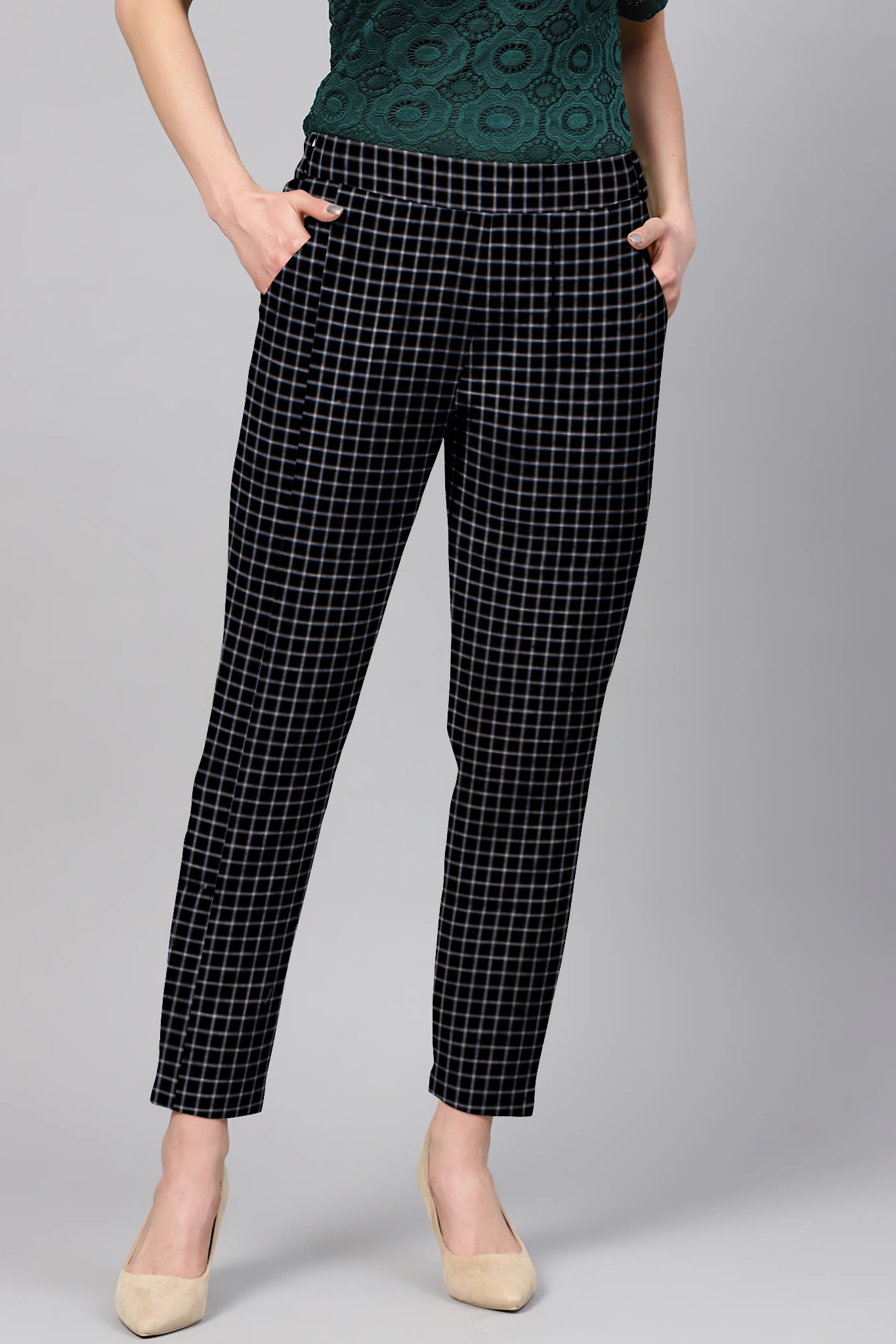 Black White Cotton Check Regular Fit Solid Trouser-36111