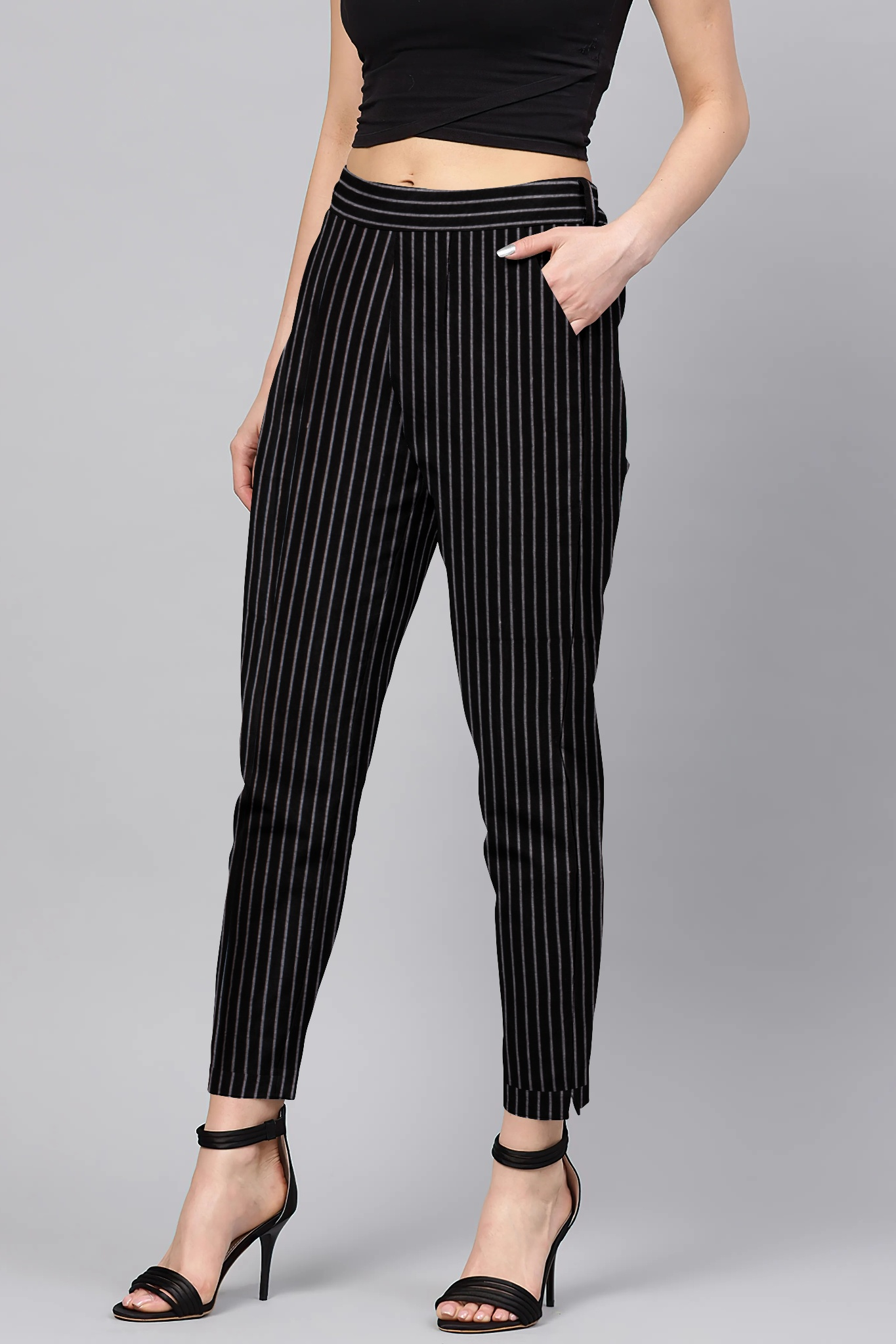 Black White Cotton Stripe Regular Fit Solid Trouser-36112