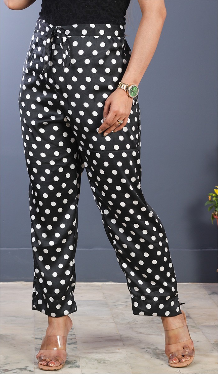 Black White Crepe Polka Women Pant-34707