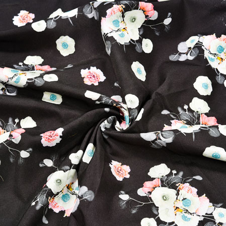 Black White Floral Crepe Silk Fabric-41019