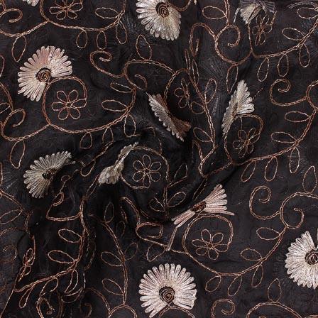 Black White Floral Embroidery Organza Silk Fabric-51679