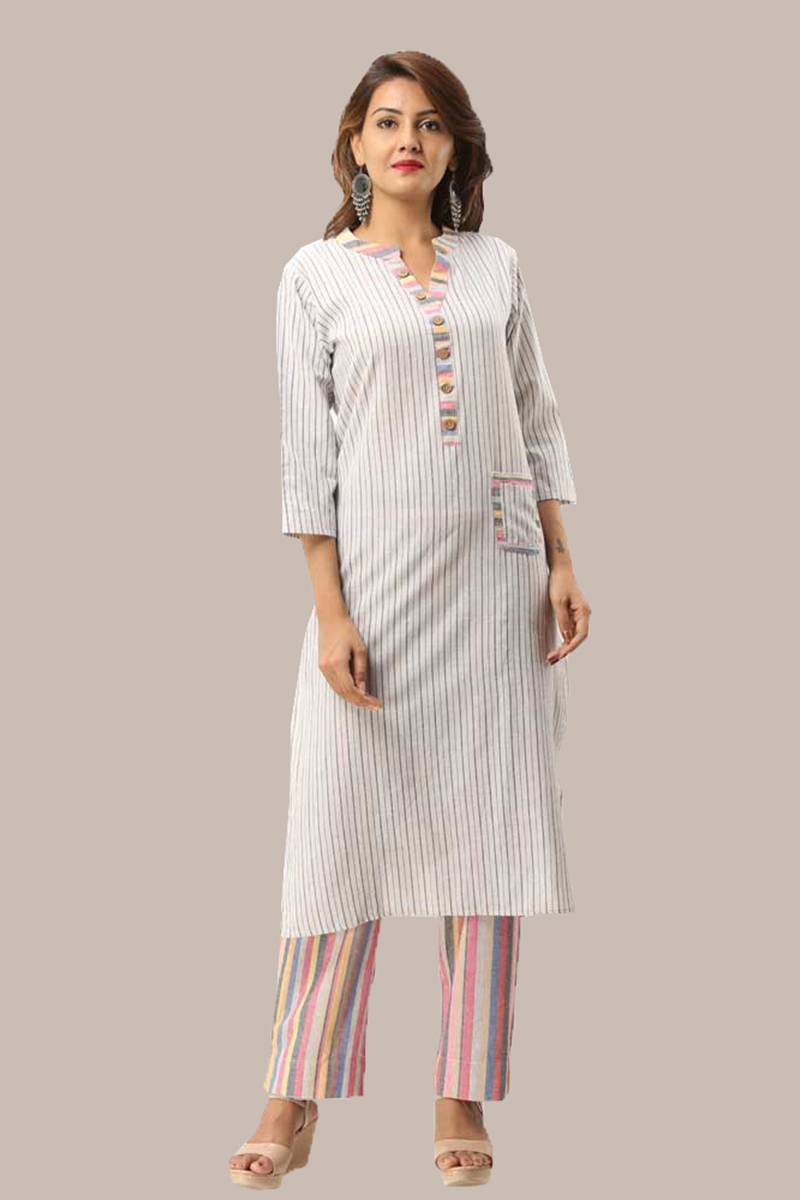Kurta Pant Set-Black White Handloom Cotton Kurta Stripe Pant Set-33722