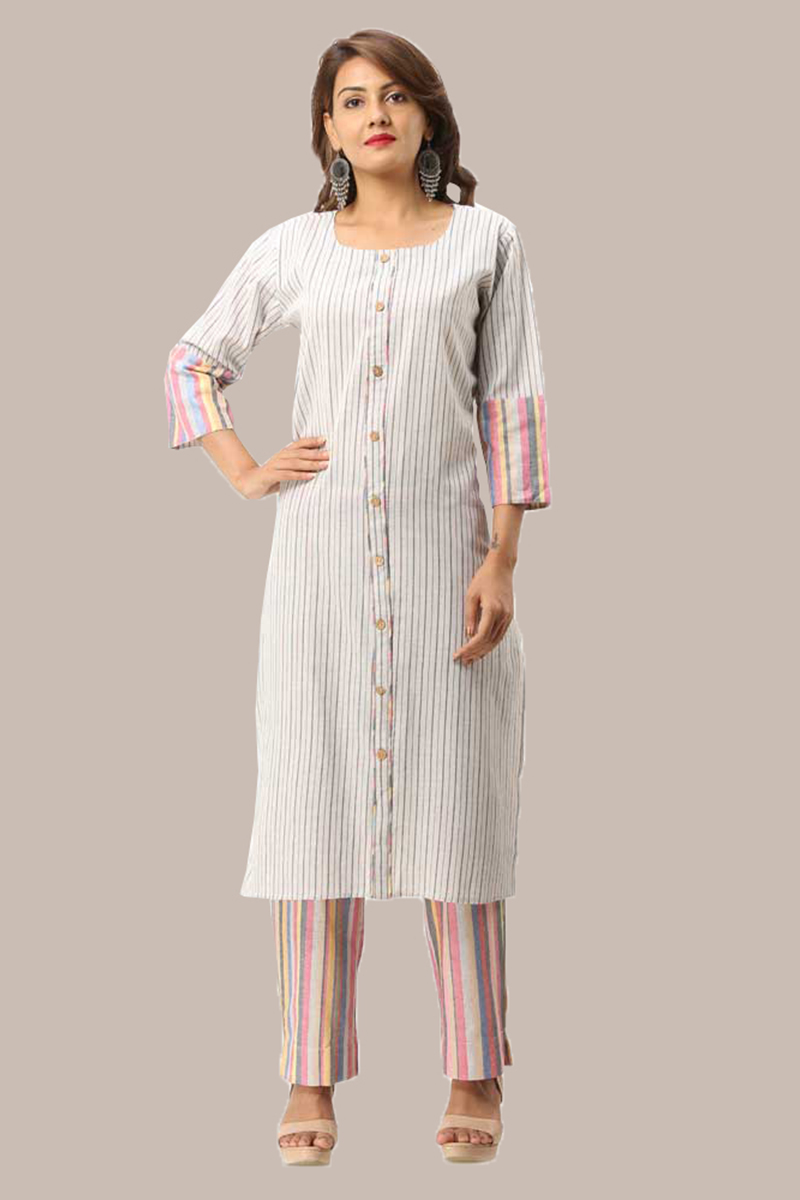 Kurta Pant Set-Black White Handloom Cotton Kurta Stripe Pant Set-33725