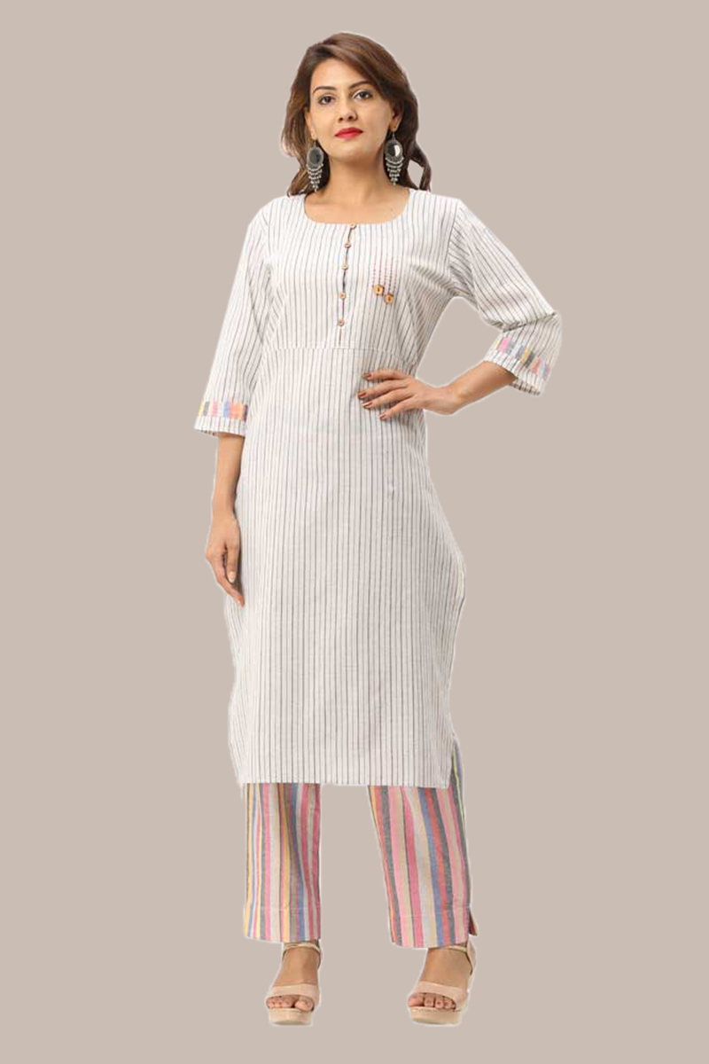 Kurta Pant Set-Black White Handloom Cotton Kurta Stripe Pant Set-33729
