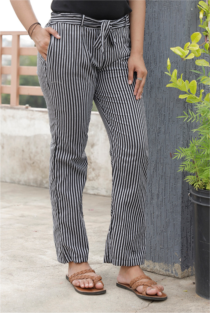 Black White Handloom Cotton Stripe Narrow Pant with Belt-33908