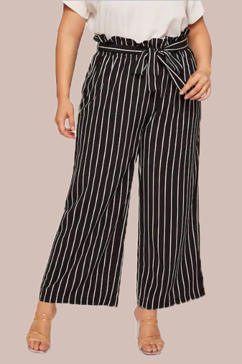 Black White Handloom Cotton Stripe Palazzo Pant with Belt-33954