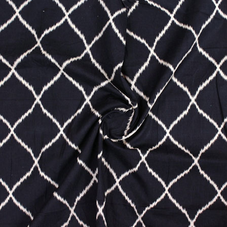 Black White Ikat Block Print Cotton Fabric-14838