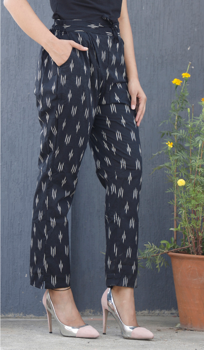 Black White Ikat Block Print Cotton Pant-34083