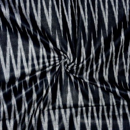 Black White Ikat Cotton Fabric-11141