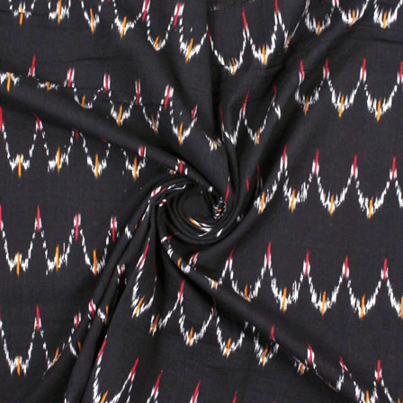 Black White Ikat Cotton Fabric-12208
