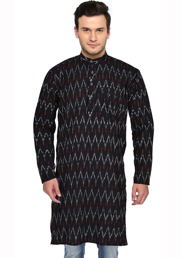 Black White Ikat Cotton Khadi Long Kurta-33162